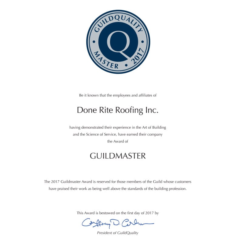 Done Rite Roofing Gets the 2017 Guildmaster Award for its Roofing Services
